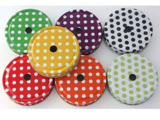 7 colors polka dot straw hole tumbler lids for regular mouth Mason jars