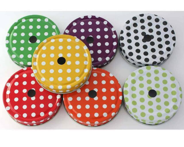 7 colors polka dot straw hole tumbler lids for regular mouth Mason jars
