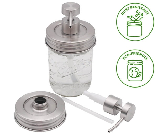Threaded Brushed Stainless Steel/Matte Satin Soap Dispenser Lid for Wide Mouth Mason Jars Style #2