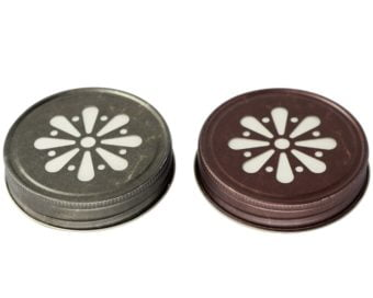 Antique pewter and bronze daisy lids with foam liner for regular mouth Mason jars