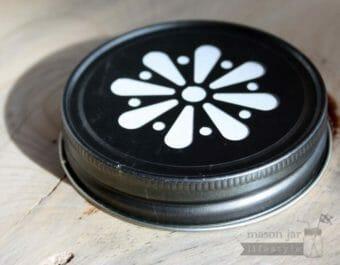 Vintage pewter daisy lid for Mason jars side