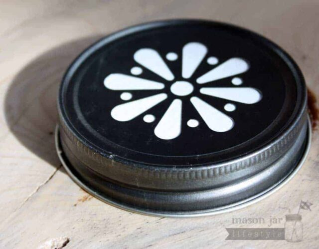 Vintage pewter daisy lid for Mason jars side