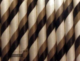 Black #2 Grey Candy Striped Biodegradable Paper Party Straw
