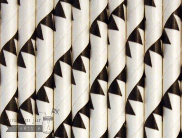 Black #4 Flags Biodegradable Paper Party Straw