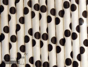 Black #5 Polka Dots Biodegradable Paper Party Straw