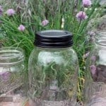 Black vintage reproduction lid on Atlas Mason jar