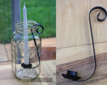 Black metal taper candle holder for half gallon Mason jars
