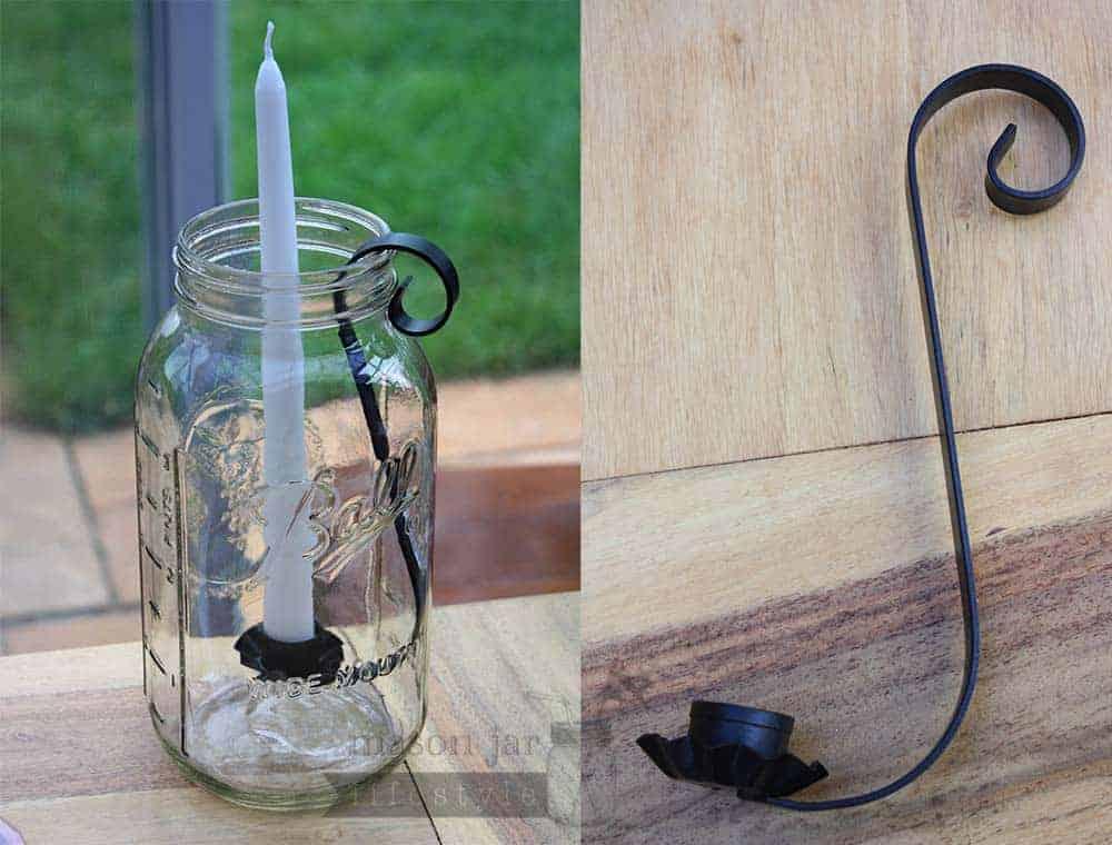Black Metal Taper Candle Insert Arm Half Gallon Mason Jars