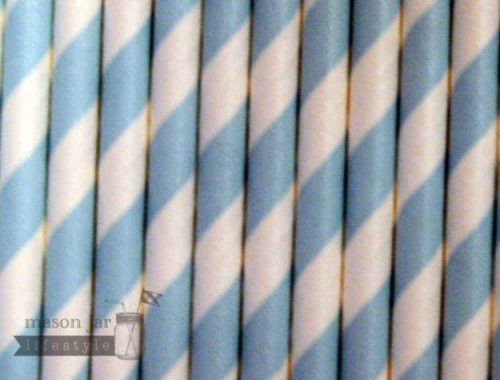 Blue #1 Candy Striped Biodegradable Paper Party Straw