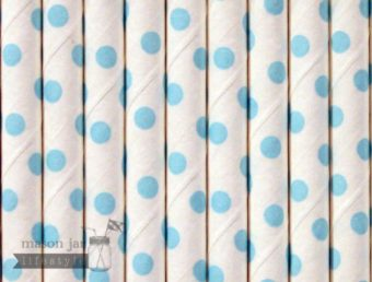 Blue #12 Polka Dots Biodegradable Paper Party Straw