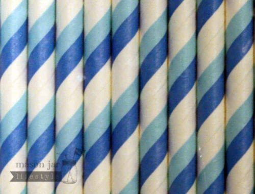 Blue #4 Candy Striped Biodegradable Paper Party Straw