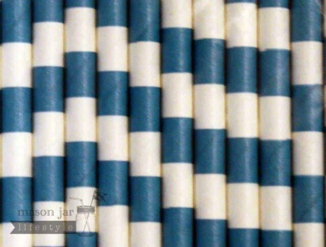 Blue #7 Horizontal Striped Biodegradable Paper Party Straw