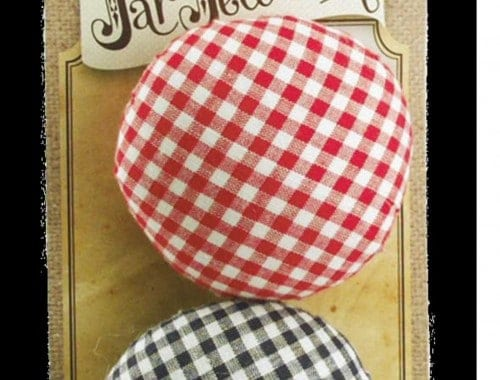Red and blue pin cushion lids for regular mouth Mason jars