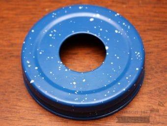 Blue speckled soap pump dispenser adapter for regular mouth Mason jars