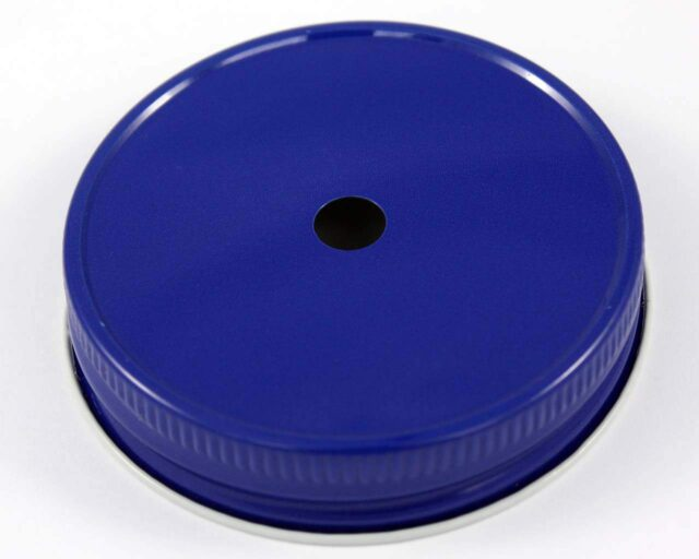 Blue straw hole tumbler lid for regular mouth Mason jars