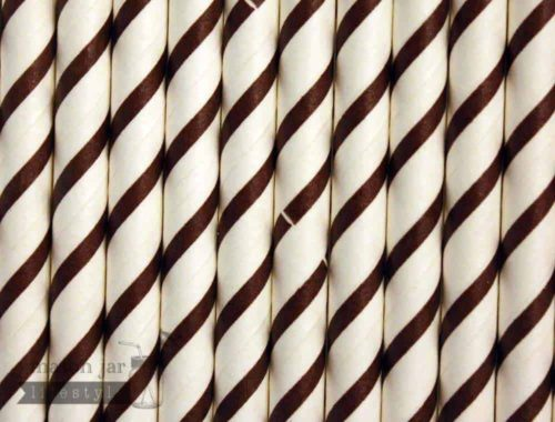 Brown #1 Candy Striped Biodegradable Paper Party Straw