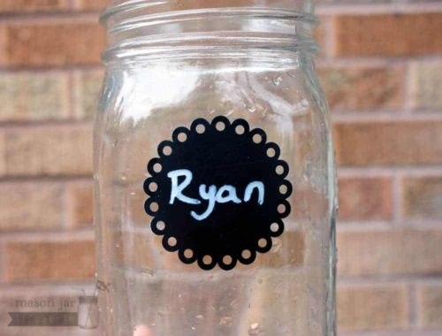 2 Inch round eyelet chalkboard sticker on quart Mason jar