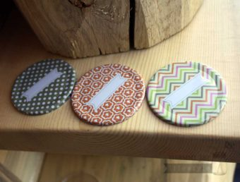Chevron, flower patter, polka dot lid inserts with labels for regular mouth Mason jars 3 pack
