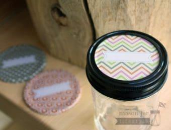 Orange, pink, green, grey chevron pattern lid insert with label for regular mouth Mason jars