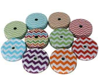 Chevron straw hole lids for regular mouth Mason jars in multiple colors and styles