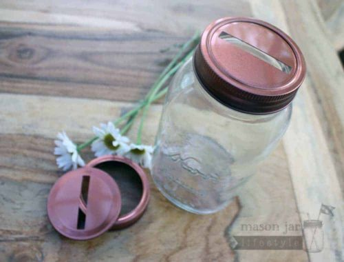 Copper colored coin slot lids for regular mouth Mason jars 2 pack