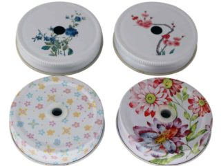 Flower / floral design straw hole tumbler lids for regular mouth Mason jars