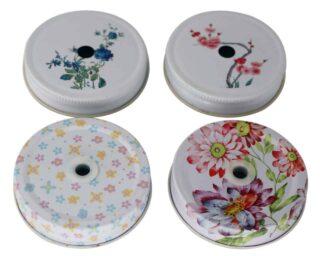 Flower / floral design straw hole tumbler lids for regular mouth Mason jars