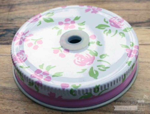 Pink floral / flower straw hole lid for regular mouth Mason jars
