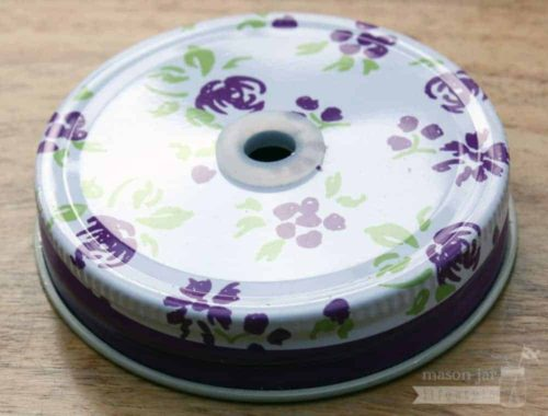 Purple floral / flower straw hole lid for regular mouth Mason jars