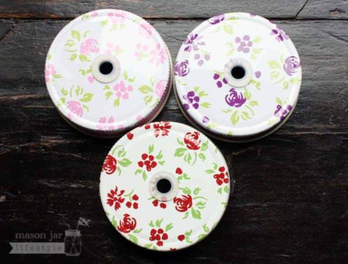 Pink, purple, and red floral / flower straw hole lids for regular mouth Mason jars