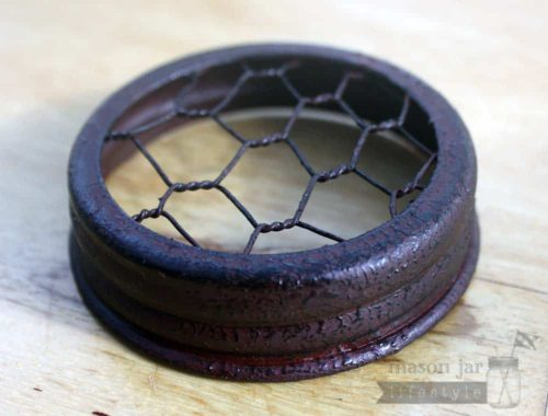 Vintage red and black chicken wire frog lid for regular mouth Mason jars