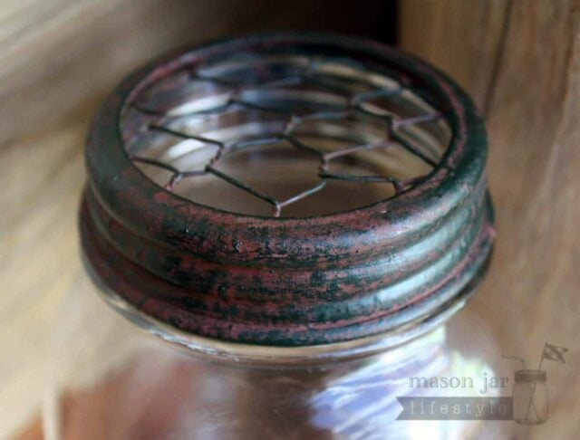 Vintage red and green chicken wire frog lid for regular mouth Mason jars