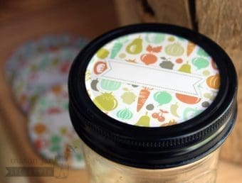 Fruit and vegetable lid inserts with label for regular mouth Mason jars