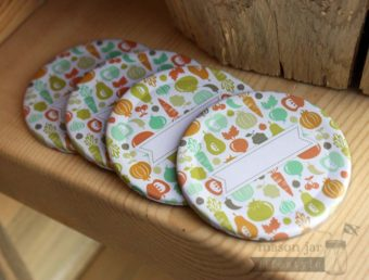 Fruit and vegetable lid inserts with label for regular mouth Mason jars 4 pack