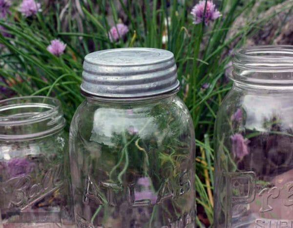 Galvanized vintage reproduction lid on Atlas Mason jar zoomed