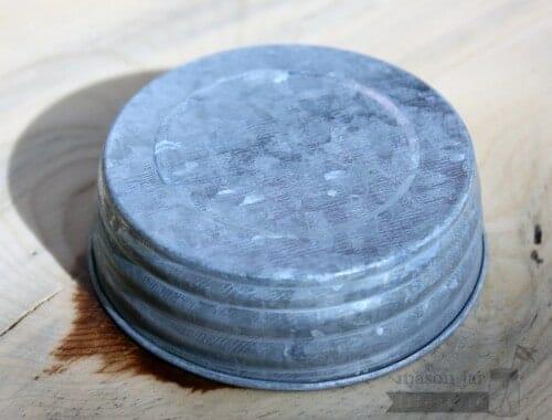 Galvanized vintage reproduction Mason jar lid side