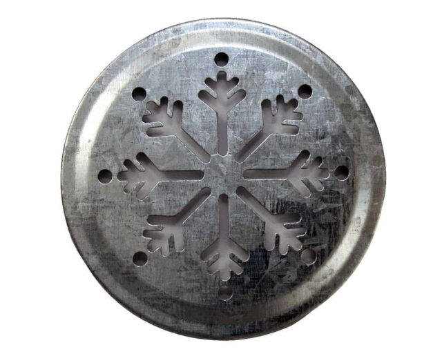 Galvanized snowflake cutout lid insert for regular mouth Mason jars