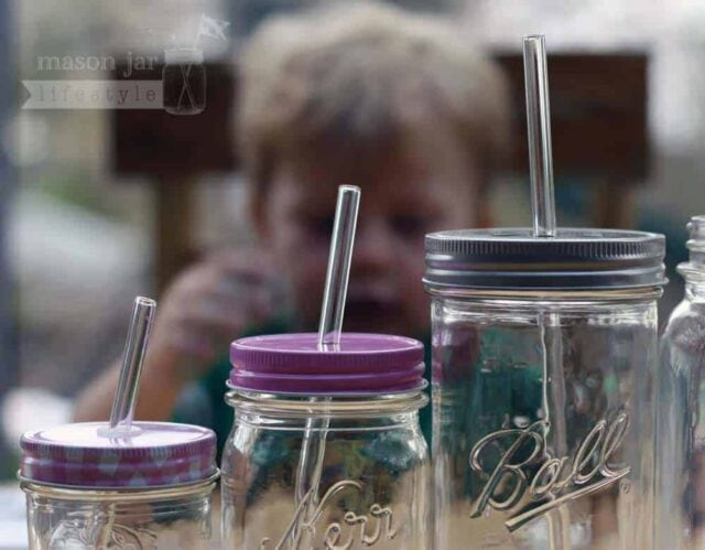 Glass straws with lids for half pint, pint, and pint-and-a-half Mason jars