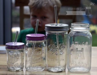 Glass straws for half pint, pint, pint-and-a-half, and quart Mason jars