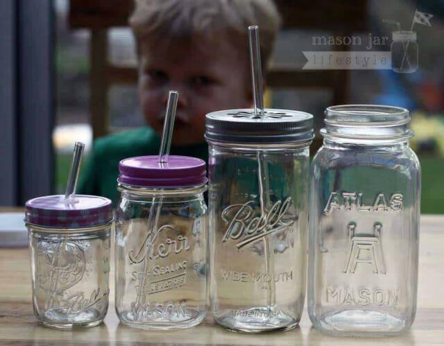 Glass straws for half pint, pint, pint-and-a-half, and quart Mason jars