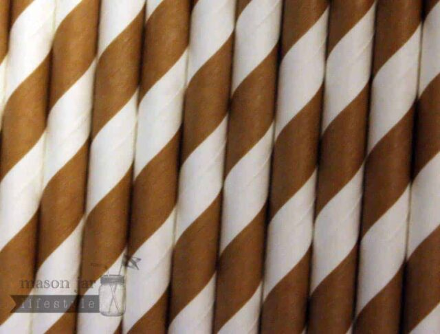 Gold #2 Candy Striped Biodegradable Paper Party Straw