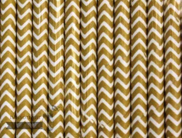 Gold #3 Chevron Biodegradable Paper Party Straw