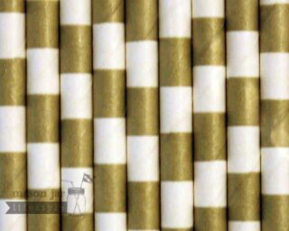 Gold #4 Horizontal Striped Biodegradable Paper Party Straw