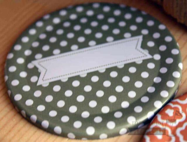 Grey polka dot lid insert with label for regular mouth Mason jars