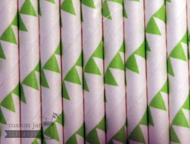 Green #1 Flags Biodegradable Paper Party Straw