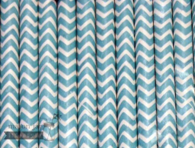 Green #11 Chevron Biodegradable Paper Party Straw