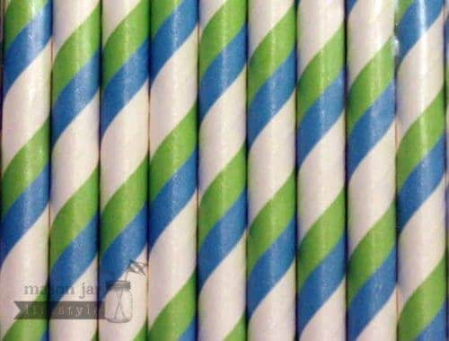 Green #3 Blue Candy Striped Biodegradable Paper Party Straw