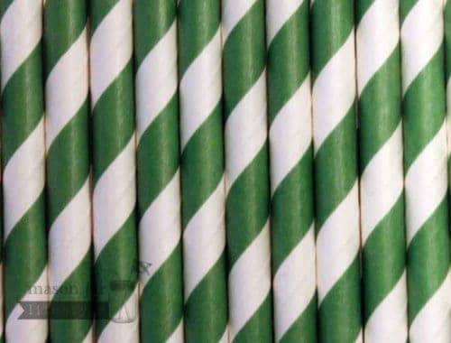 Green #4 Candy Striped Biodegradable Paper Party Straw