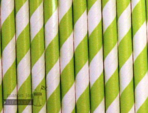 Green #5 Candy Striped Biodegradable Paper Party Straw