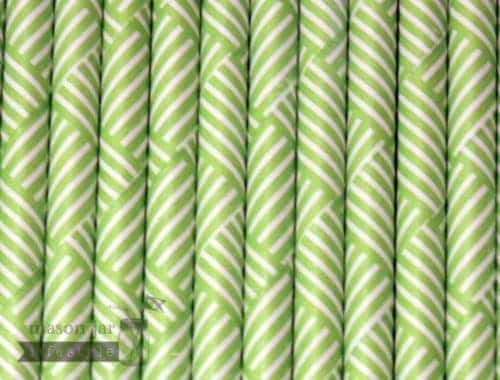 Green #6 Striped Squares Biodegradable Paper Party Straw